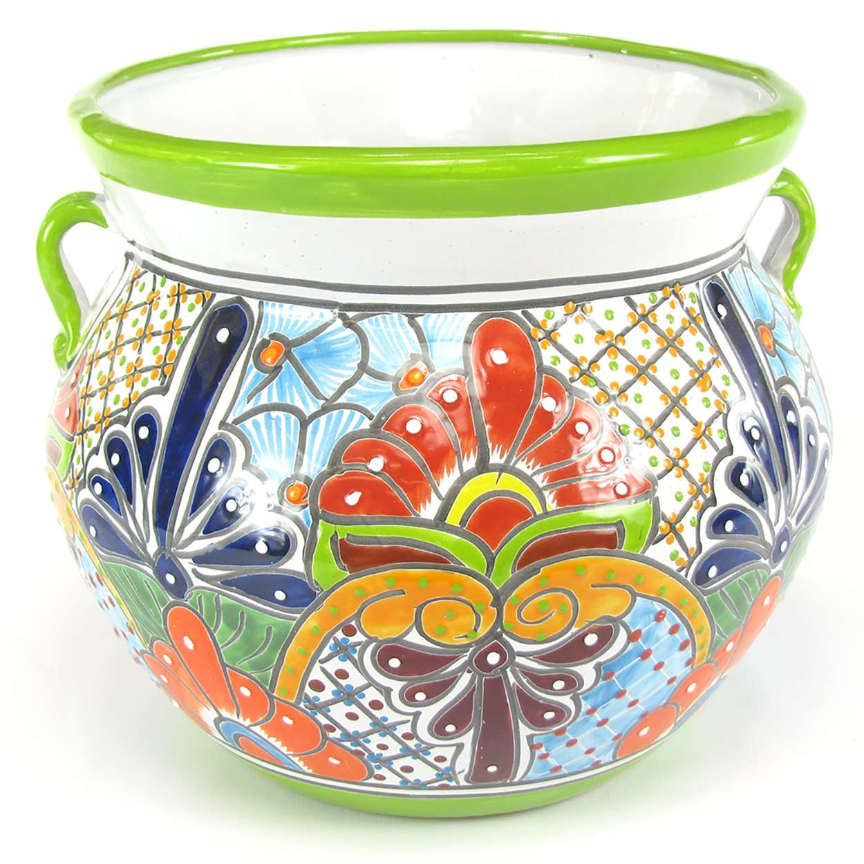 15in Talavera Pottery Planter Lime Green With Orange