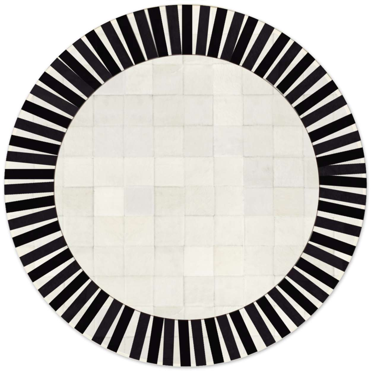 Custom Cowhide Patchwork Round Rug 6in Squares Sun Black White