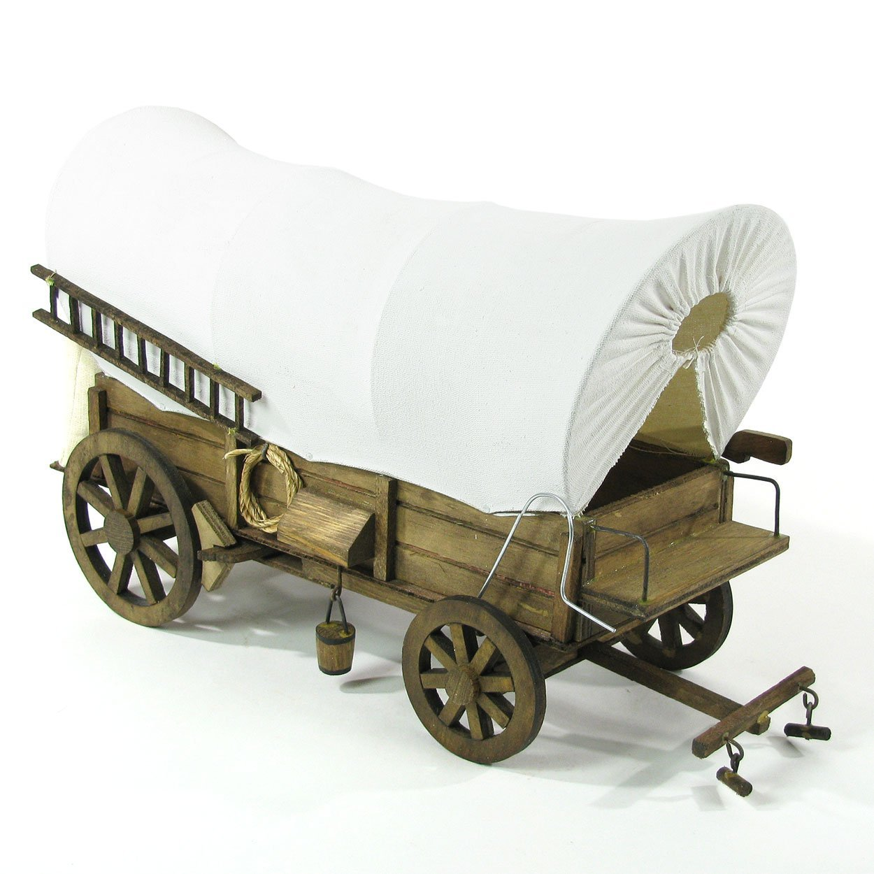 16 Inch Detailed Wooden Replica Covered Wagon