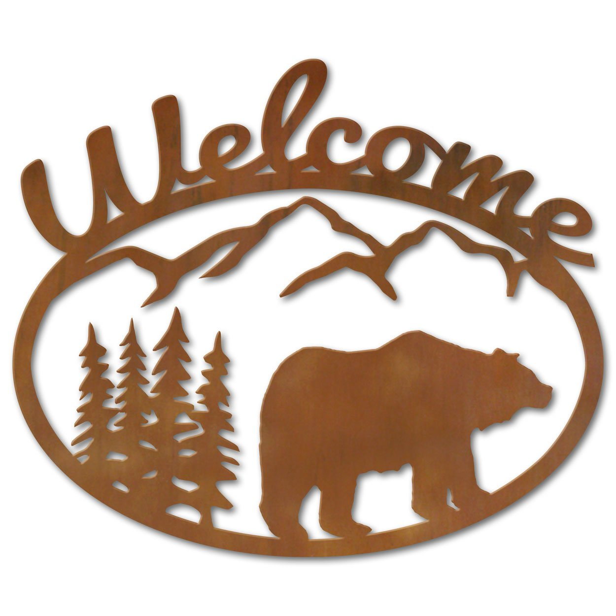 Bear And Trees Metal Welcome Sign Wall Art 600201