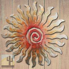 165012 - 18-inch medium 24-Point Sunburst 3D Metal Wall Art in a vibrant sunset swirl finish